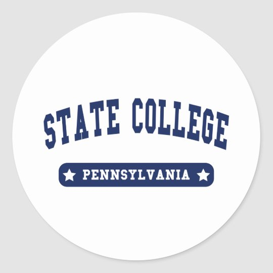 State College Pennsylvania College Style tee shirt Classic Round Sticker