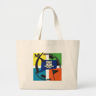 STATE CONNECTICUT NICKNAME GEOCACHER LARGE TOTE BAG