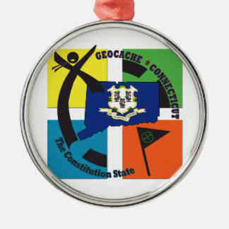 STATE CONNECTICUT NICKNAME GEOCACHER Silver-Colored ROUND ORNAMENT