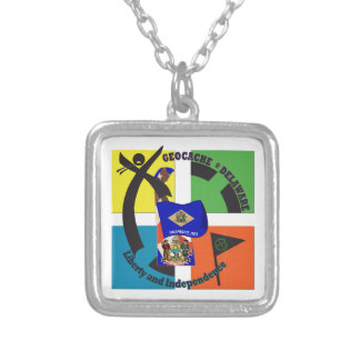 STATE MOTTO  DELAWARE GEOCACHER SILVER PLATED NECKLACE