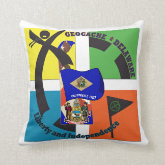 STATE MOTTO  DELAWARE GEOCACHER THROW PILLOW