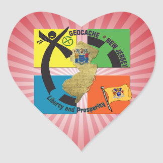 STATE NEW JERSEY MOTTO GEOCACHER HEART STICKER