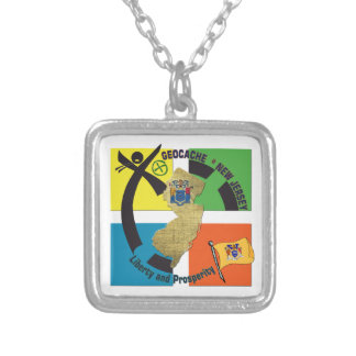 STATE NEW JERSEY MOTTO GEOCACHER SILVER PLATED NECKLACE