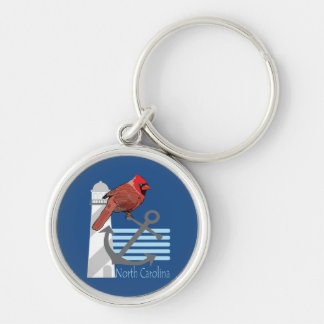 state north Carolina bird, light house Silver-Colored Round Keychain