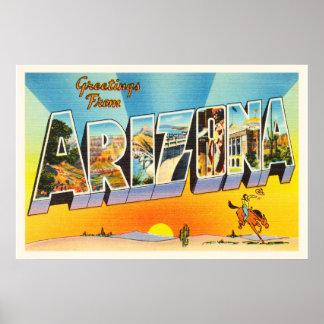 State of Arizona AZ Old Vintage Travel Souvenir Poster