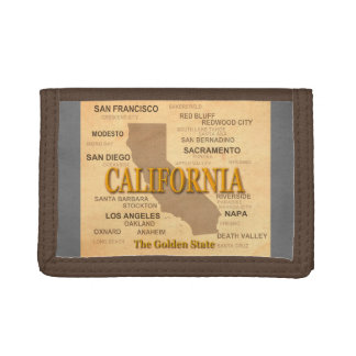 State of California Map, Los Angeles, Sacramento Tri-fold Wallet