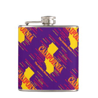State of California Map, Los Angeles, San Diego Flask