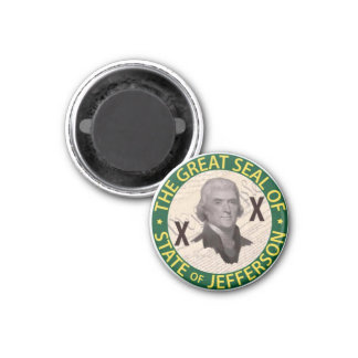 State of Jefferson Button with Constitution Inlay 1 Inch Round Magnet