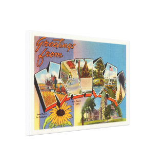 State of Kansas KS Old Vintage Travel Souvenir Canvas Print