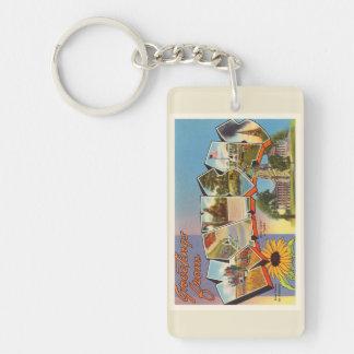 State of Kansas KS Old Vintage Travel Souvenir Double-Sided Rectangular Acrylic Keychain
