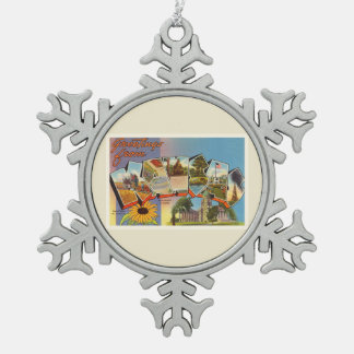 State of Kansas KS Old Vintage Travel Souvenir Pewter Snowflake Ornament