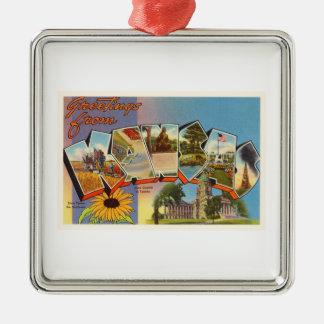 State of Kansas KS Old Vintage Travel Souvenir Silver-Colored Square Ornament