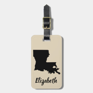 State of Louisiana Silhouette & Script Name Luggage Tag
