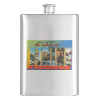 State of Maine #2 ME Old Vintage Travel Souvenir Hip Flask