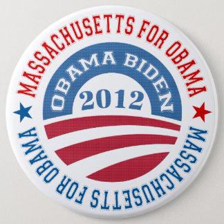 State Of Massachusetts For Obama-Obama Biden 2012 6 Inch Round Button