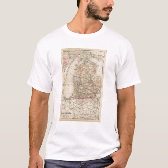 State of Michigan Atlas Map T-Shirt