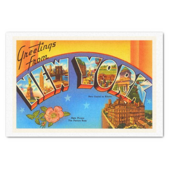 State of New #2 York NY Vintage Travel Souvenir Tissue Paper