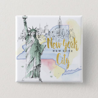 State of New York | Statue of Liberty 2 Inch Square Button