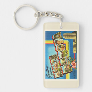 State of North Dakota ND Vintage Travel Souvenir Double-Sided Rectangular Acrylic Keychain