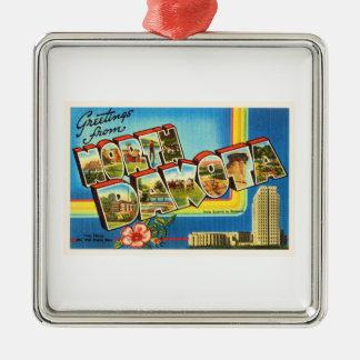 State of North Dakota ND Vintage Travel Souvenir Silver-Colored Square Ornament