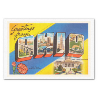 State of Ohio OH Old Vintage Travel Souvenir Tissue Paper