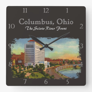 State of Ohio Scioto River Front Vintage Custom Wall Clocks