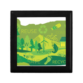 State of Oregon Map Environment Eco Outline Gift Box
