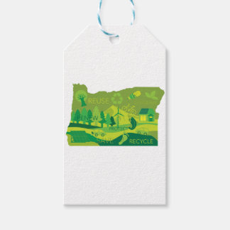 State of Oregon Map Environment Eco Outline Gift Tags