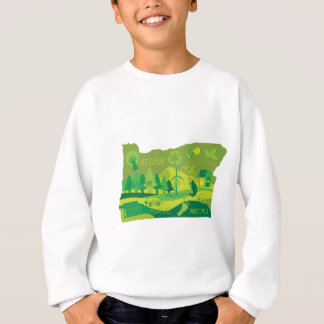 State of Oregon Map Environment Eco Outline Sweatshirt