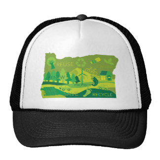 State of Oregon Map Environment Eco Outline Trucker Hat