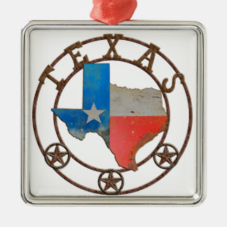 State of Texas Wrought Iron Silver-Colored Square Ornament