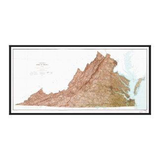 State of Virginia Map (1973) Canvas Print