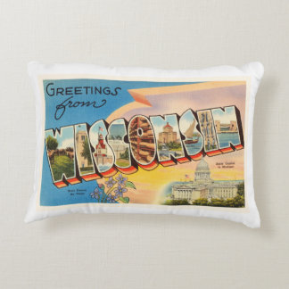 State of Wisconsin WI Old Vintage Travel Souvenir Accent Pillow