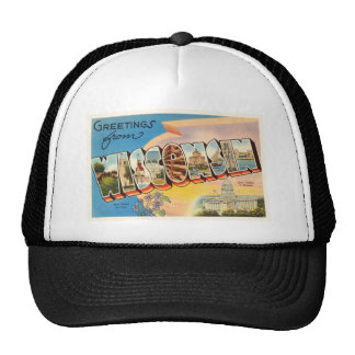 State of Wisconsin WI Old Vintage Travel Souvenir Trucker Hat