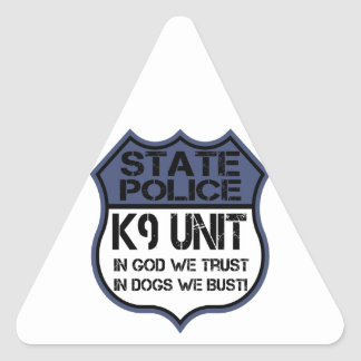 State Police K9 Unit In God We Trust Motto Triangle Sticker