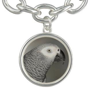 Stately African Grey Parrot Charm Bracelets