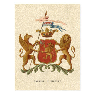 Stately Heraldic Badge with Griffin and Lion Postcard