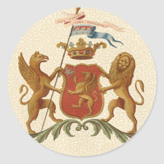 Stately Heraldic Badge with Griffin and Lion Round Sticker
