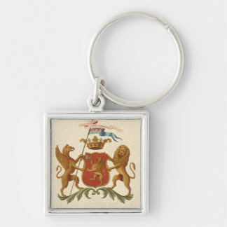Stately Heraldic Badge with Griffin and Lion Silver-Colored Square Keychain