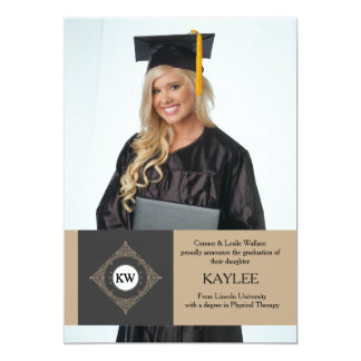 Stately Initial Photo Graduation Announcement