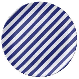 Stately Stripes in Blue Porcelain Plates
