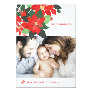 Statement Floral Poinsettia Christmas Photo Card