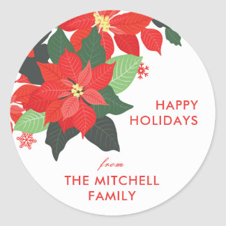 Statement Floral Poinsettia Christmas Sticker