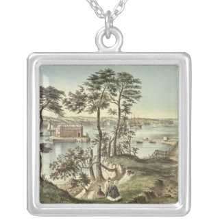 Staten Island and the Narrows from Fort Hamilton Silver Plated Necklace