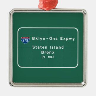 Staten Island Bronx Interstate NYC New York City Silver-Colored Square Ornament