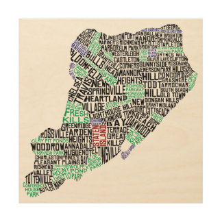 Staten Island Map Typographic Art Wood Print
