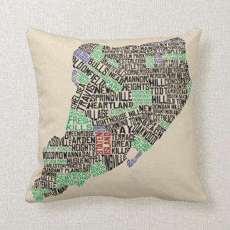 Staten Island NY Typography Map Cushion