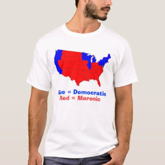 states, Blue = Democratic, Red = Moronic T-Shirt