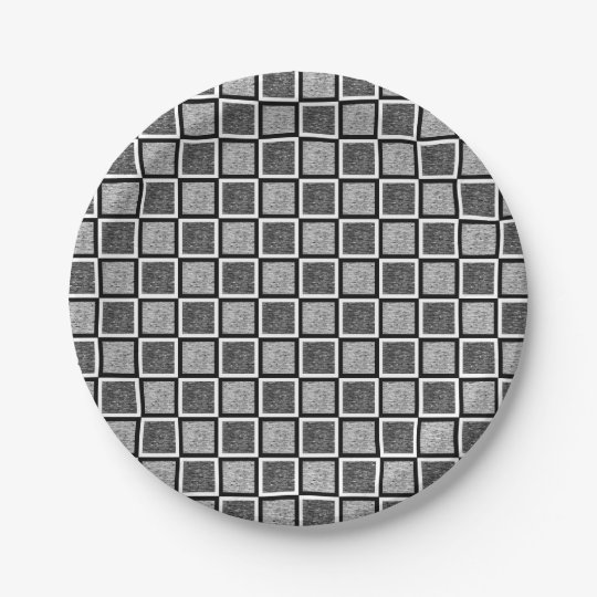 Static Black and White Squares 7 Inch Paper Plate