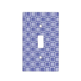 Static Blue and White Squares Light Switch Cover